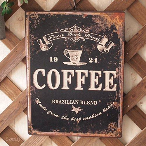インテリア雑貨 ブリキの壁掛け ティンプレート バス アンティーク調 (265×350, コーヒー)