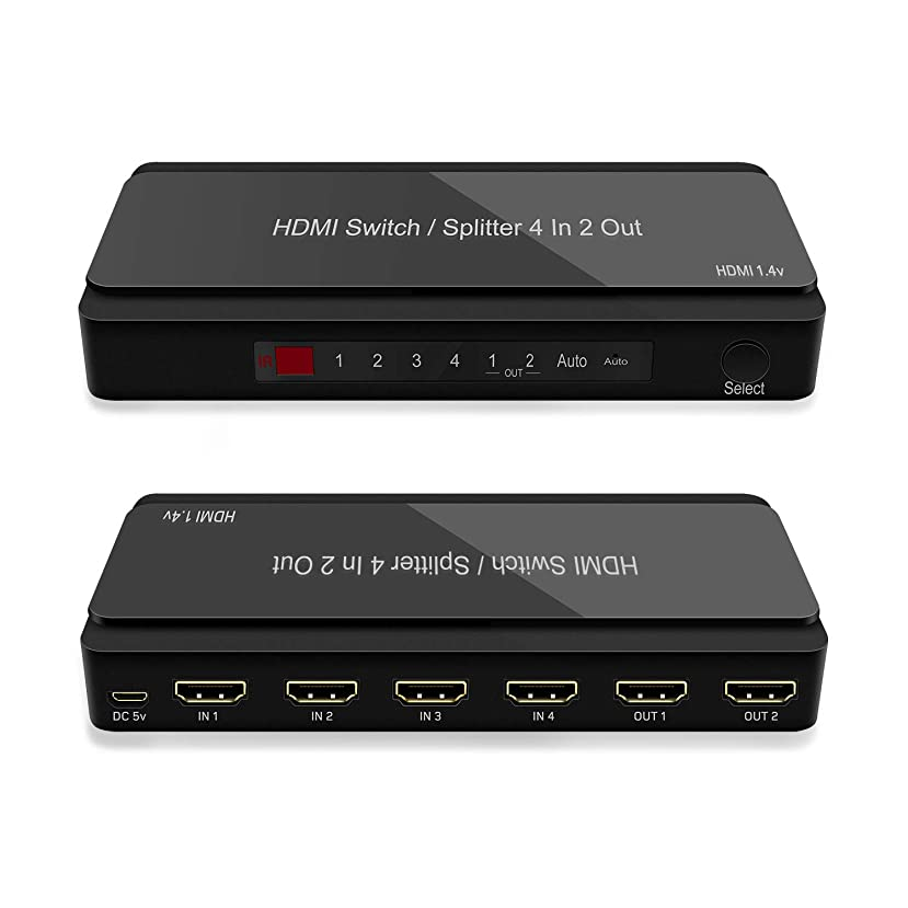4 Port HDMI Switch, 2 Port HDMI Splitter, 4 in 2 Out HDMI Switch with Remote Control and AC Power Adapter, HDMI Switches Supports 4K, 1080P, 3D (4 in 2 Out HDMI Switch) huvabbp270904