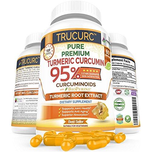 Trucurc姜黄姜黄素补充有95%的标准化纯姜黄姜黄素和Bioperine黑胡椒的最大吸收 - 抗炎关节健康支持最高效能 -  60粒