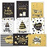 TUPARKA 18 PCS Tarjetas de feliz cumpleaños Tarjetas de felicitación doradas y negras con 18 sobres para hombres, mujeres