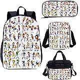 Mochila deportiva de 15 pulgadas con bolsa de almuerzo, juego de estuche, niños jugando varios deportes 4 en 1 conjuntos de mochila