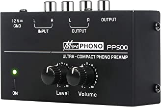 Depusheng PP500 Ultra-compact Preamplifier Phono Preamp with Level & Volume Controls RCA Input & Output 1/4