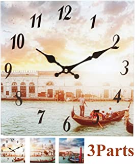 YIDIE Glass Wall Clock,3 Pieces Square Home Customized Decorative Tempered Silent Non Ticking Battery Operated Wall Clock Easy to Read for Home Living Room Bedroom Office School