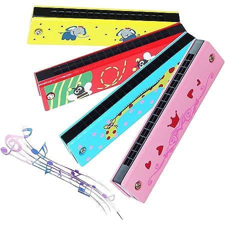 16 Trous Harmonica,Biluer 4PCS Enfants Harmonica Enfants Musical Instrument Trémolo Harmonica pour Débutants Enfants Fête Vacances