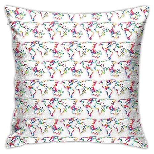 Throw Pillow Cover Rainbow Mini World Map Soft Throw Pillow Couch Pillowcase Square 18X18 Inch
