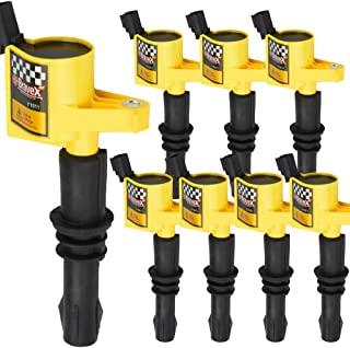 High Performance Ignition Coil 8 Pack For Ford F150 Mercury Lincoln V8 V10 4.6L 5.4L 6.8L Compatible with DG511 C1541 FD508 (Yellow)