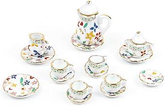 New Vtg Doll House Miniature Bone China Tea Set Kettle Cups Party Pocelain A4