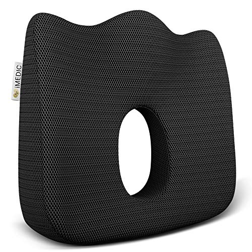 Medipaq Luxury Orthopaedic Coccyx Seat Cushion - Designed to Relieve Sciatica, Tailbone and Back Pain for Any SEAT with Anti Slip Bottom.