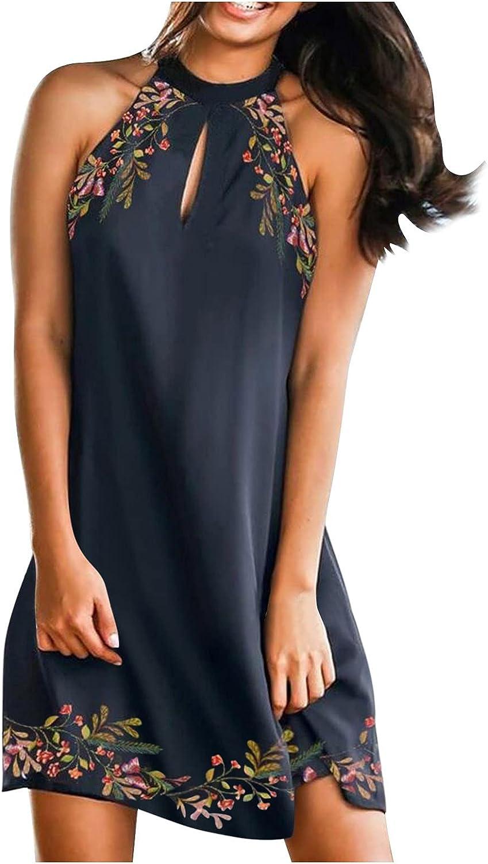 Dresses for Women,Womens 2021 Beach Dress Color Print Casual Sleeveless Comfy Loose Sun Short Dresses