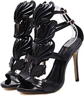 Women High Heels Sandals, Sexy Summer Open Toe Ankle Shoes with Leaf Flame