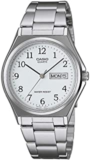 Casio Men's White Dial Stainless Steel Band Watch - MTP1240D-7B