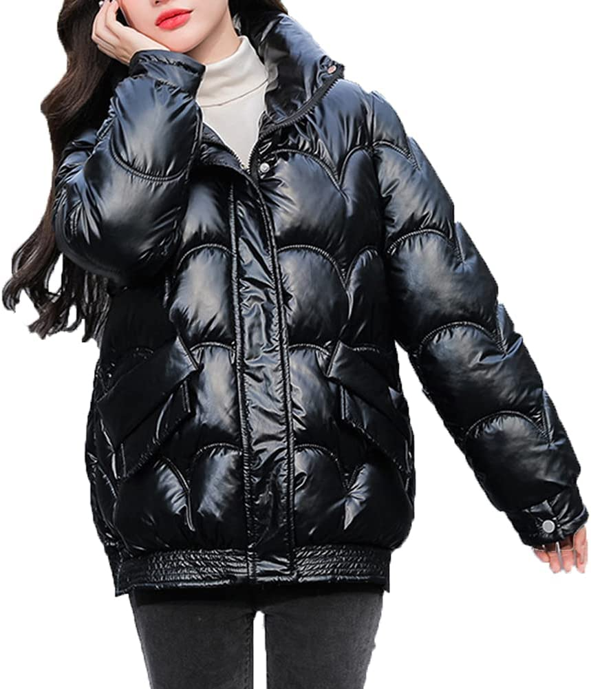 BINBAOSS Women's Ultra Light Down Jacket Women Slim Stand Collar Quilted Padded Thickened Fit Short Puffer Jacket Ladies Winter Warm Coat for Hiking Travel,Black,XL
