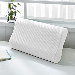 Delcy Memory Foam Pillow,Cervical Pillow for Neck Pain,Orthopedic Contour Pillow Support for Back,Stomach,Side Sleepers,An...