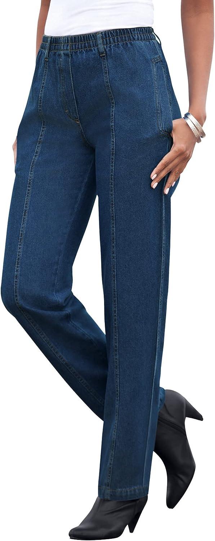 Roamans Gorgeous Women's Plus Some reservation Size Seamed Kate Jean Cotton W Elastic 100%