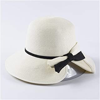 SHENTIANWEI Fine Paper Grass Folding Straw hat Spring and Summer hat Female Elegant Dome Bow Straw hat Sun Visor (Color : White)