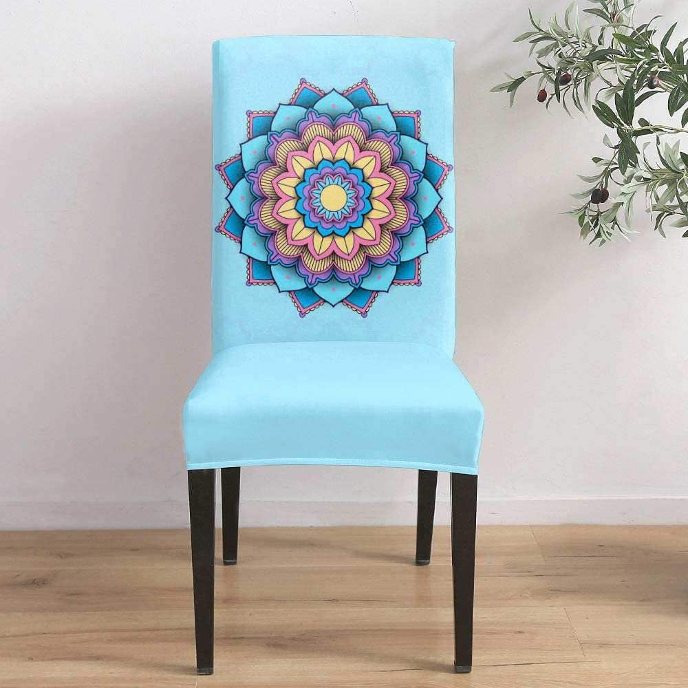 Dining Room Chicago Mall Stretch Chair Cover Blue 2021 spring and summer new Floral Pa Mandala Slipcover