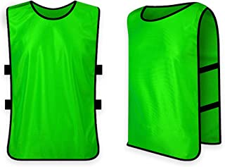 Chaleco de Fútbol,Petos Respirable de Fútbol Baloncesto Deportes Correa Elástica para niños Hombres Mujeres Adultos de Free Size, Verde