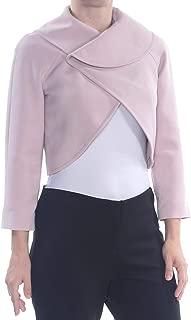 TAHARI Womens Pink Cropped Long Sleeve Wrap Sweater Petites US Size: 2