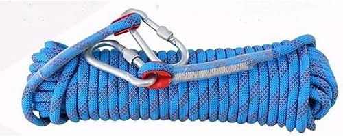 ANHPI Corde D'Escalade De Rocher équipement Extérieur Corde D'échappement De Ligne De Vie Statique Corde De Rappel De Haute Altitude,bleu-15m12mm