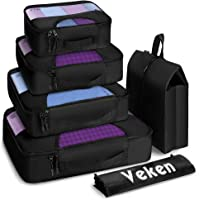 6 Set Veken Travel Luggage Organizers Packing Cubes with Laundry Bag & Shoe Bag