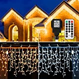 Icicle Lights Outdoor, B-right 440 Led Icicle Christmas Lights Warm White&Cool 11Modes Dimmable 2-in-1 with...