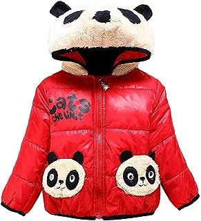 Blue Cartoon Print Panda Fur Rabbit Fur Quilted Winter Warm Hood Jacket Coat Fleece Bomber Jersey Sweatshirt Quilted Jacket for Baby Infant Toddler 1yr 2 yr Kids