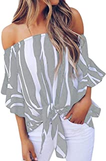 TINGZI Women Tees Striped Off Shoulder Waist Tie Blouse Short Sleeve Casual T Shirts Tops Slim Fit Comfy Tunic
