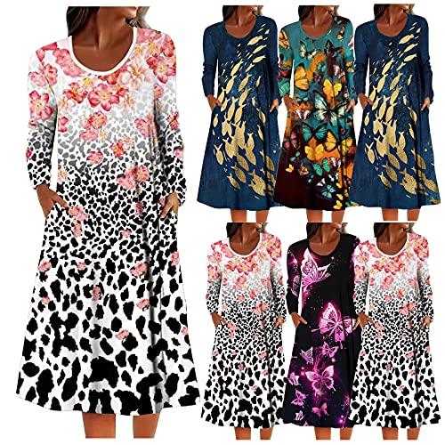 ZGNB Women's Dress Long-Sleeves Kurz Sexy Ärmellos Midi Casual Rundhals Cocktailkleider GroßE GrößEn Festliche Kleider FüR Damen Sommer Partykleid Kurz Damen