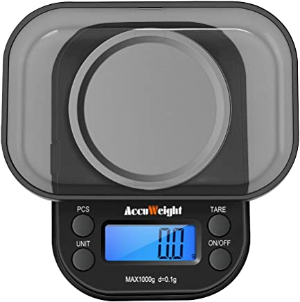 ACCUWEIGHT 255 Mini Bilancia di Precisione Digitale per Gioielli Bilance Alimenti Elettronica con Tara e Calibrazione 1000g/0,1g per Pesa Cucina