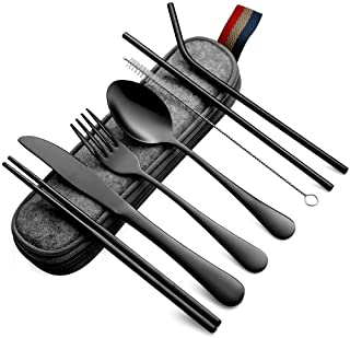 Devico Portable Utensils, Travel Camping Cutlery Set, 8-Piece including Knife Fork Spoon Chopsticks Cleaning Brush Straws ...