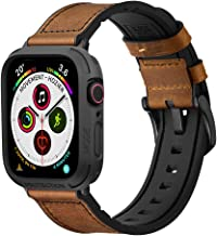 Mifa Rugged Hybrid Sports Leather Band with Elkson Quattro Bumper Case Compatible with Apple Watch Series 6 SE 5 4 44mm re...