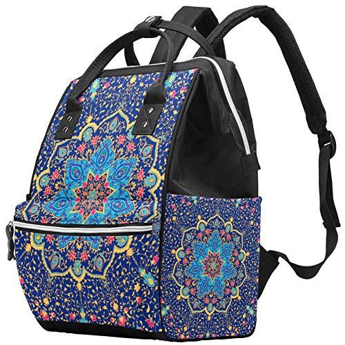 TIZORAX blauw Mandala Vector Ornament Grote capaciteit luiers rugzak baby wikkeltas rugzak reistas voor moeders vaders