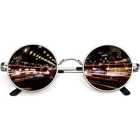 CGID E01 lunettes de soleil polarisées inspirées du style retro vintage Lennon en cercle métallique rond protection UV400