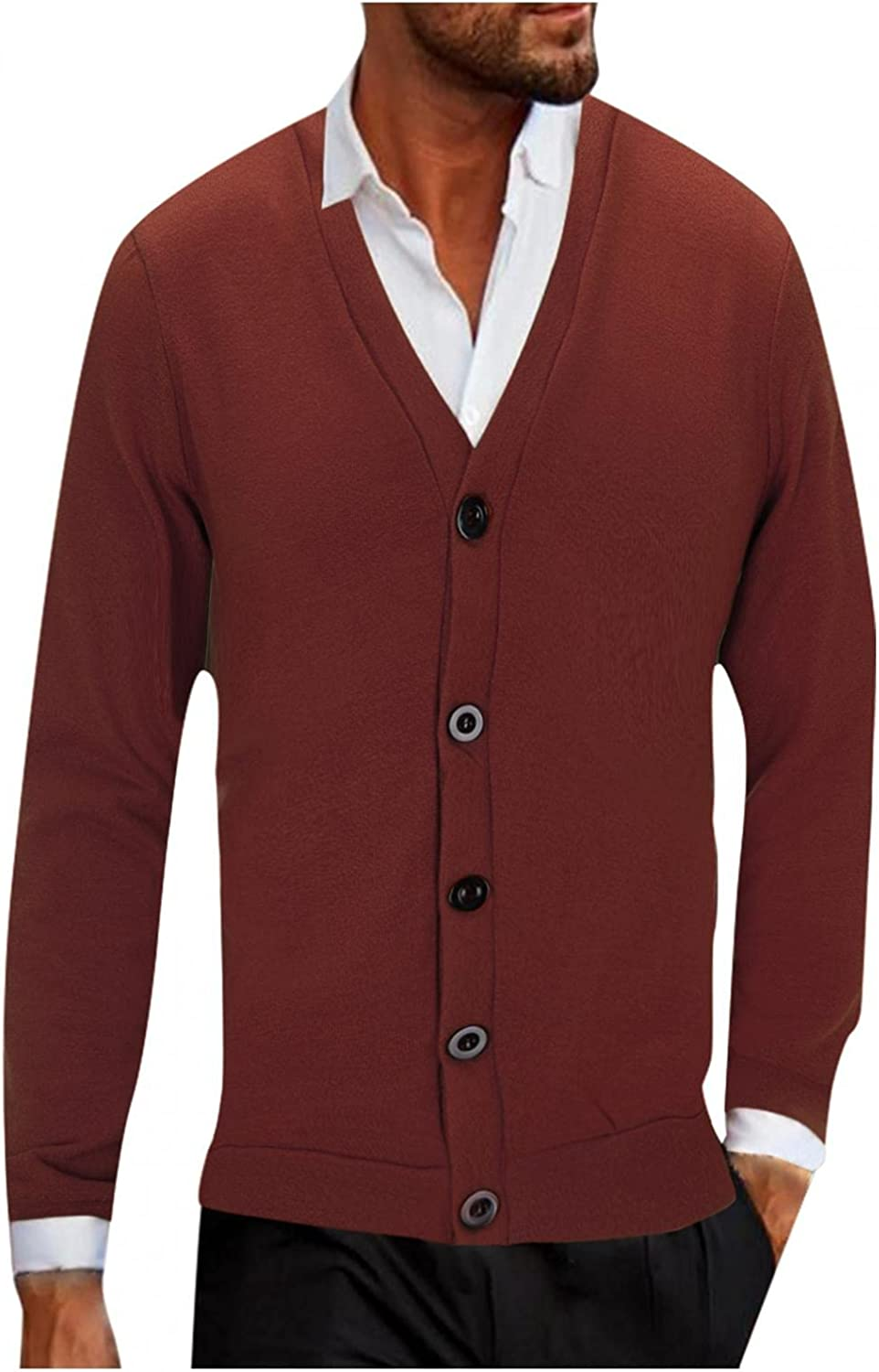 SUIQU Mens Button Knit Cardigan Autumn and Winter Solid Color Casual Loose V Neck Long Sleeve Knited Blouse Top Outwear