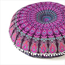 """EYES OF INDIA - 32"""" Purple Pink Mandala Large Floor Pillow Cover Meditation Cushion Seating Throw Hippie Round Colorful De..."""