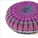 Eyes of India - 32' Mandala Suelo Meditación Cojín Asiento Almohada Manta Funda Hippie Redondo Colores Decorativos Bohemio Adorno Bohemio Elegante Cama para Perro Indio Hecho a Mano Cubierta