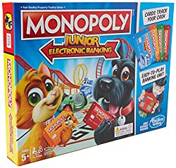 Monopoly game for younger players Includes easy-to-play electronic banking unit Make payments and track cash with monopoly game bank cards Features fun, kid-friendly properties