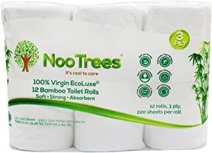 NooTrees Bamboo 3-ply Bathroom Tissue, 220 Sheets, 12 Rolls, Ecofriendly,100 Percent Biodegradable & Sustainable, Hypoallergenic, Ultra Absorbent Velvety Soft, FSC Certified