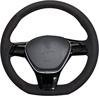 XUJI Hand Sewing Black Suede Car Steering Wheel Cover for Volkswagen VW Golf 7 Mk7 New Polo Jetta Passat B8 Tiguan Sharan Touran Up(The Original Steering Wheel is Leather)