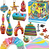 JOYIN Create Your Own Sand Art, DIY Art and Craft Kits Includes 5 Sand Bottles, 4 Pendent Bottles, 3 Sticky Art Sheets, 10 Rainbow Colored Sand and Related Tools, Crafts Activity Kit for Kids