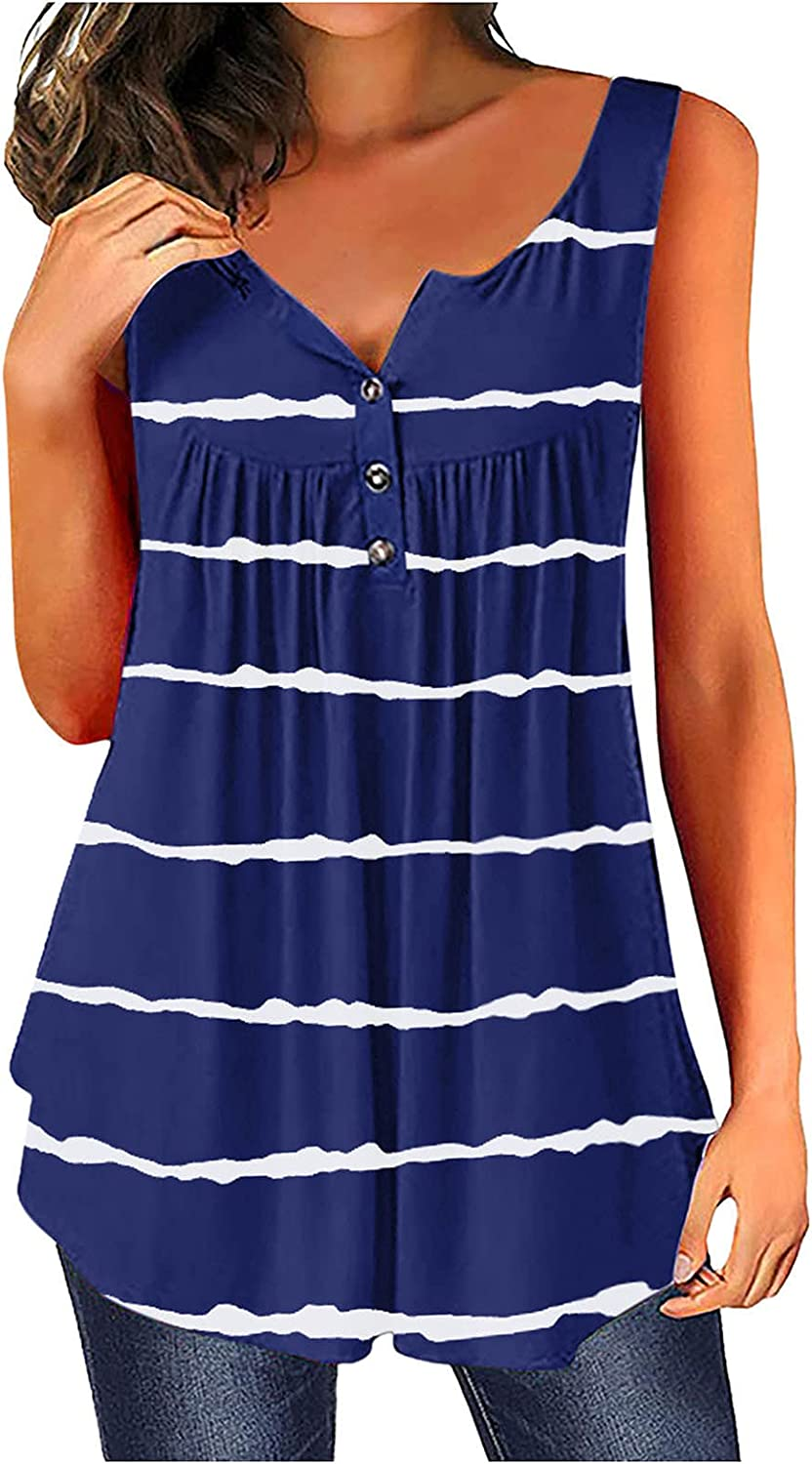 shaozheny Womens Sleeveless Striped T-Shirts Summer Vest Tops Casual O-Neck Loose Tunic Tops with Buttons Comfy Blouse Tops
