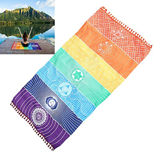 Fineday Hot Rainbow Beach Mat Mandala Blanket Wall Hanging Tapestry Stripe Towel Yoga, Home & Garden, for Christmas New Year (Multicolor)