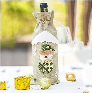 Cartone animato Natale Set vino rosso, set di bottiglia di vino di tela da imballaggio, decorazione di bottiglia di vino d...