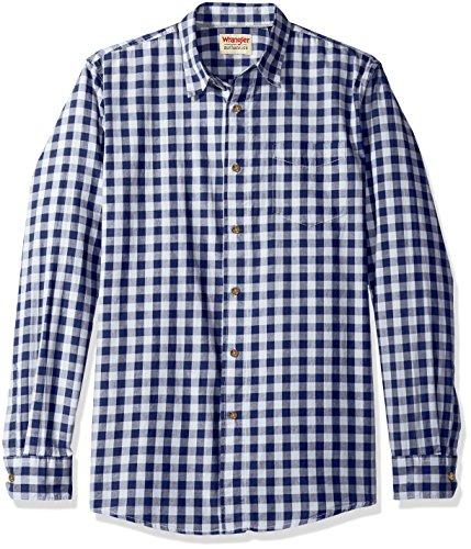 Wrangler Authentics Men's Long Sleeve Premium Gingham Shirt, Blue Depths, L