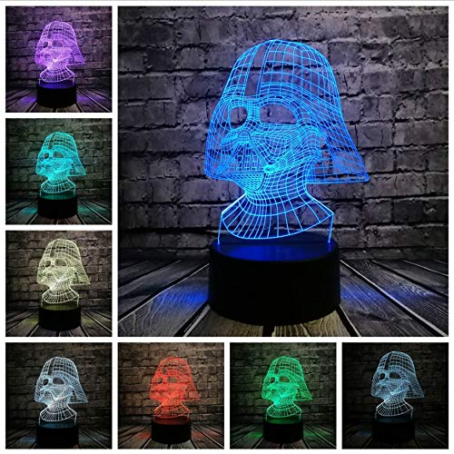 Star Wars Darth Vader Dark Warrior 3D luz nocturna USB LED Lámpara de mesa Iluminación multicolor Visual Touch Figura fresca Juguetes para niños, A