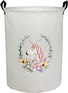 ESSME Laundry Hamper,Collapsible Canvas Waterproof Storage Bin for Kids, Nursery Hamper,Gift Baskets,Home Organizer (Art Unicorn)