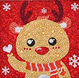 XIMISHOP Easy Diamond Painting Kit for Kids, DIY 5D Christmas Reindeer Mosaic Making with White Frame (7.1X7.1inches)