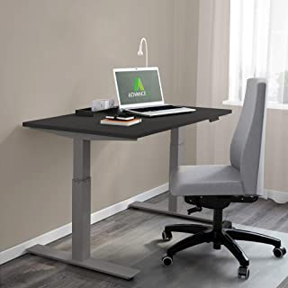 AdvanceUp Electric Stand Up Desk Frame Workstation, Grey Ergonomic Standing Height Adjustable Base, Grey Desk Frame & Black Table Top Bundle
