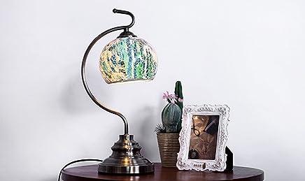 MILUCE 牧歌的なテーブルランプベッドサイドランプクリエイティブファッション研究机ランプカラフルなガラス装飾的なテーブルランプ