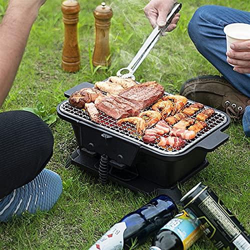 61qHES6jkCL. SL500  - bjyx Grill Holzkohlegrill, für den Haushalt, tragbar, Gusseisen, Holzkohlegrill, Herd mit doppelseitigem Grillnetz für Camping, Rucksackreisen, Einweg